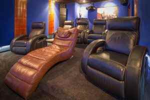A dedicated Cinema room with Cinema chairs. A Sound and Image project.